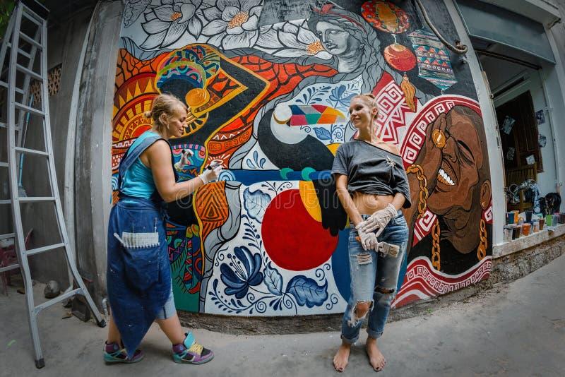 Parede da rua art imagens de stock