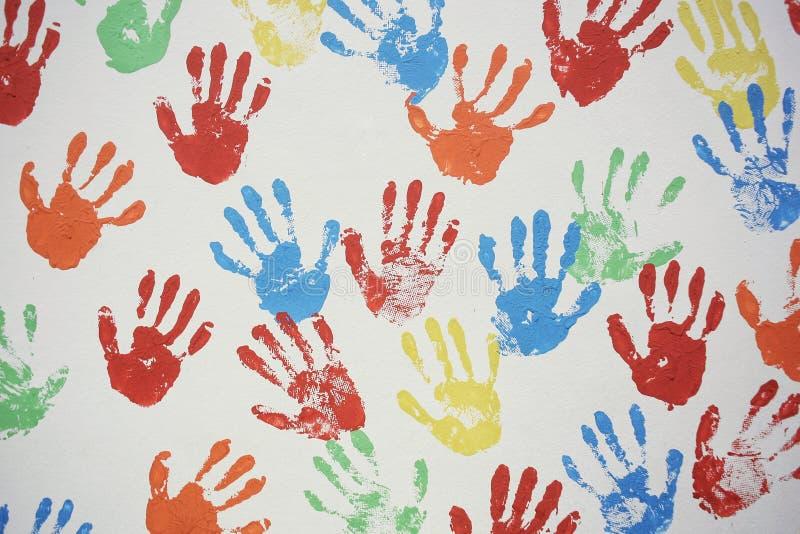 Parede da textura de Handprint imagem de stock royalty free