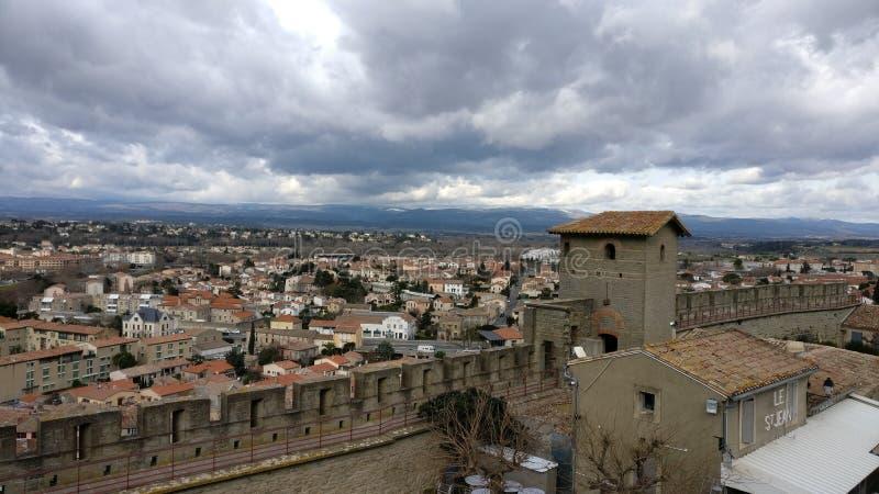 Parede da vila do castelo de Frace fotos de stock royalty free