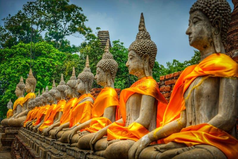 Parede das estátuas da Buda fotografia de stock