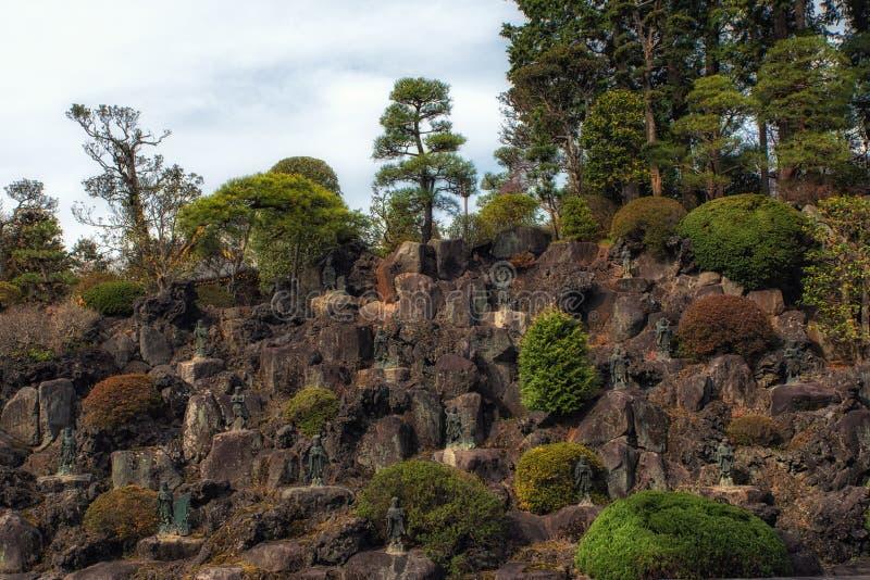 Parede das estátuas e das doações, templo de Naritasan Shinshoji, Narita, imagem de stock royalty free