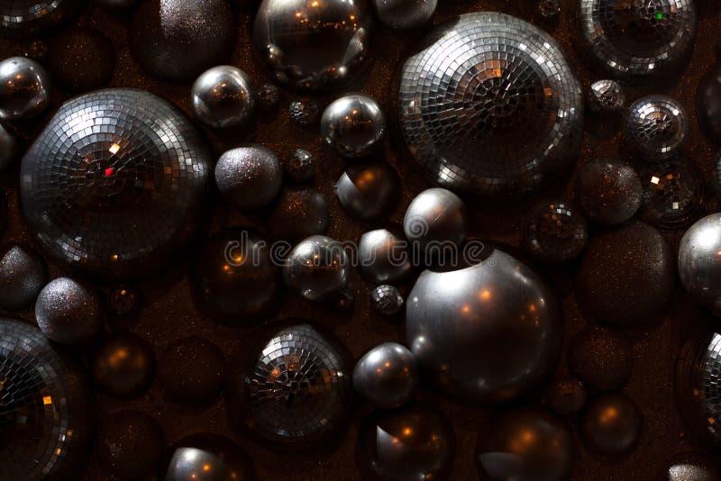 Parede de bolas e de cintilações do disco fotografia de stock