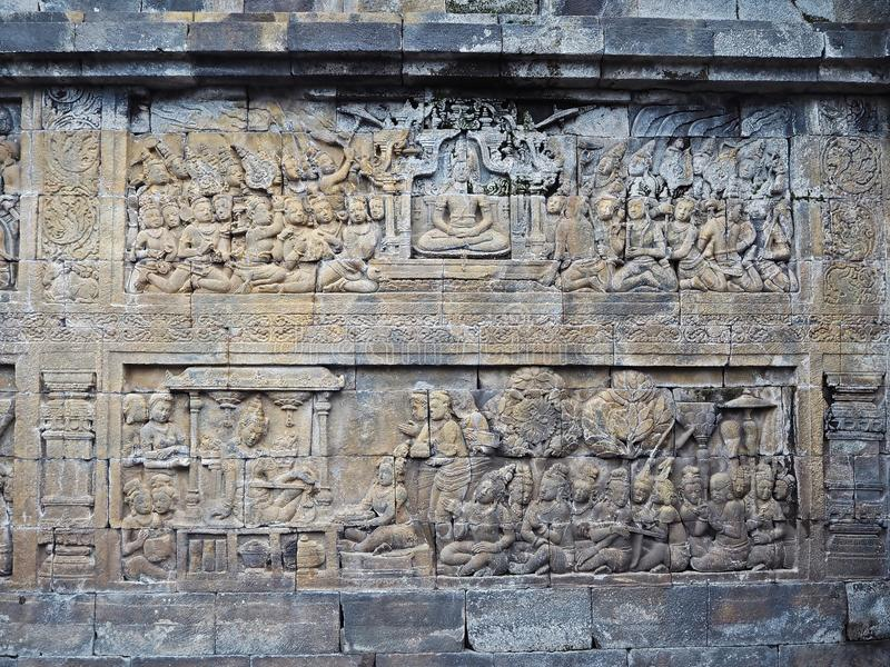 Parede de Borobudur fotografia de stock royalty free