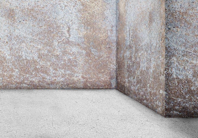 A parede de canto vazia envelheceu o fundo sujo sujo velho do vintage Em fotografia de stock