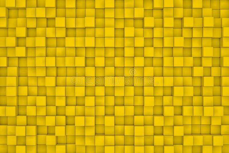 Parede de cubos amarelos abstraia o fundo ilustração royalty free