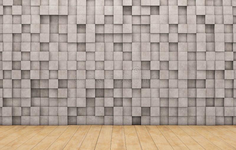 Parede de cubos concretos e do assoalho de madeira ilustração stock