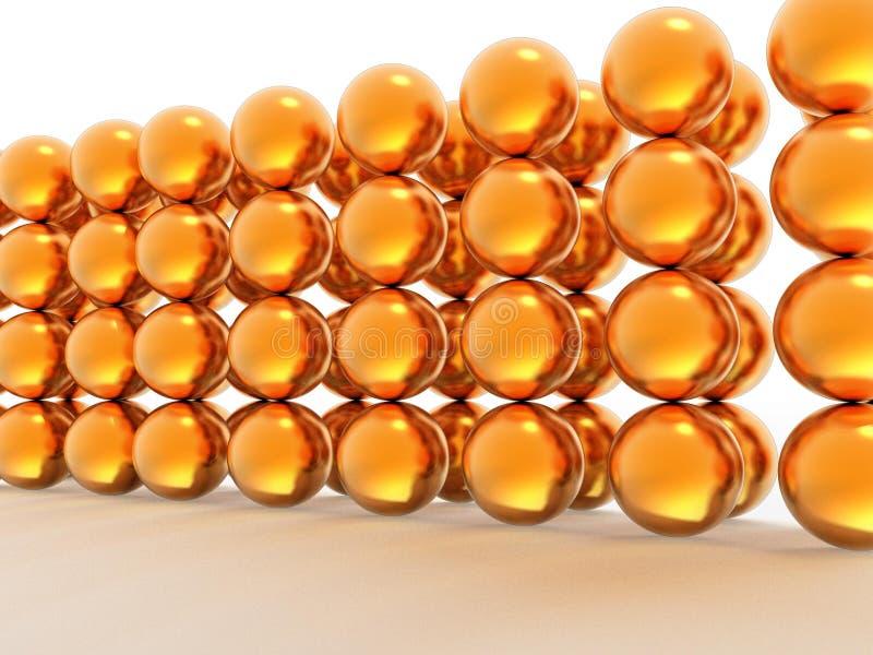 Parede de esferas do ouro ilustração royalty free
