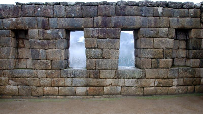 Parede de Inka em Picchu Manchu foto de stock