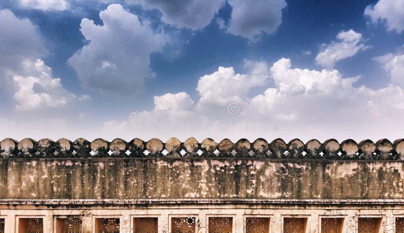 Parede de limite do forte Amer em Jaipur imagem de stock