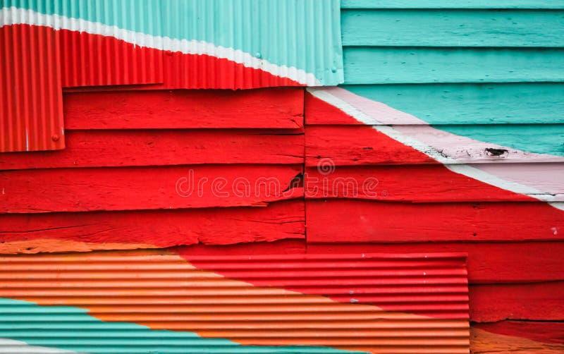Parede de madeira colorida para o fundo fotografia de stock