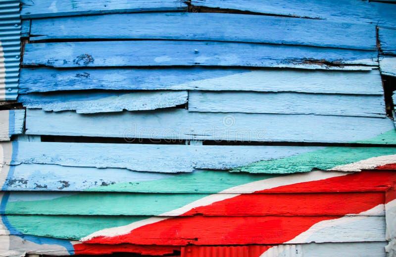 Parede de madeira colorida para o fundo imagem de stock