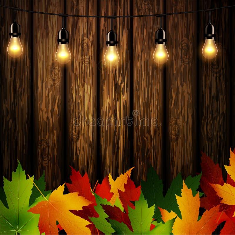 Parede de madeira com folhas de outono ilustração stock