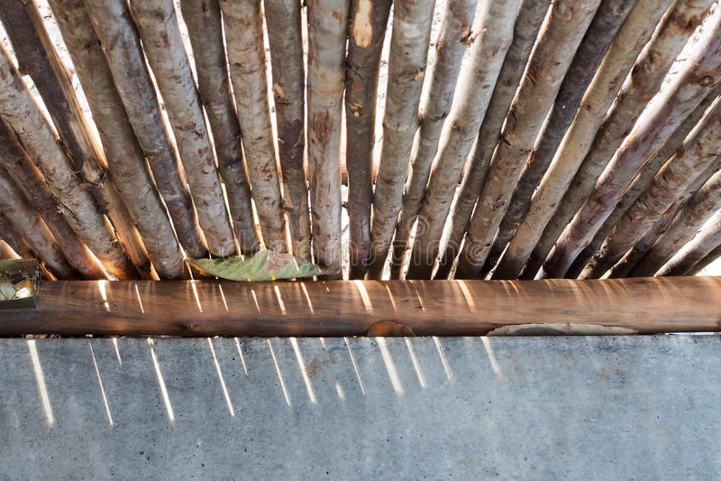 Parede de madeira no jardim imagens de stock royalty free