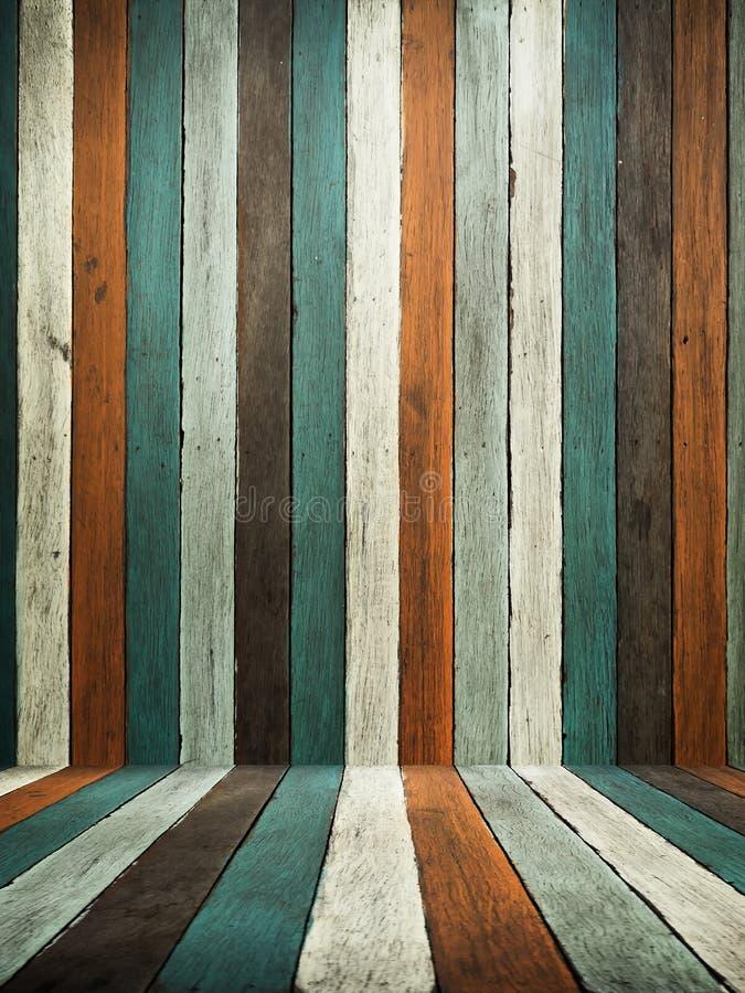 Parede de madeira velha e assoalho do tom verde foto de stock