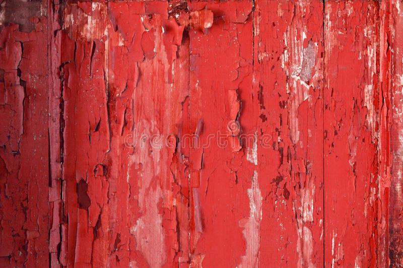 Parede de madeira velha pintada Fundo vermelho fotografia de stock royalty free