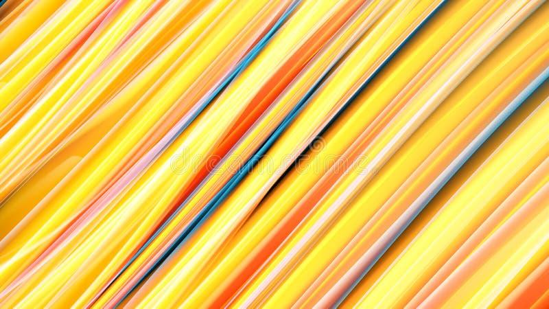 Parede de néon impetuosa cósmica mágica da energia alaranjada amarela heterogêneo brilhante bonita do sumário das linhas e das li ilustração stock