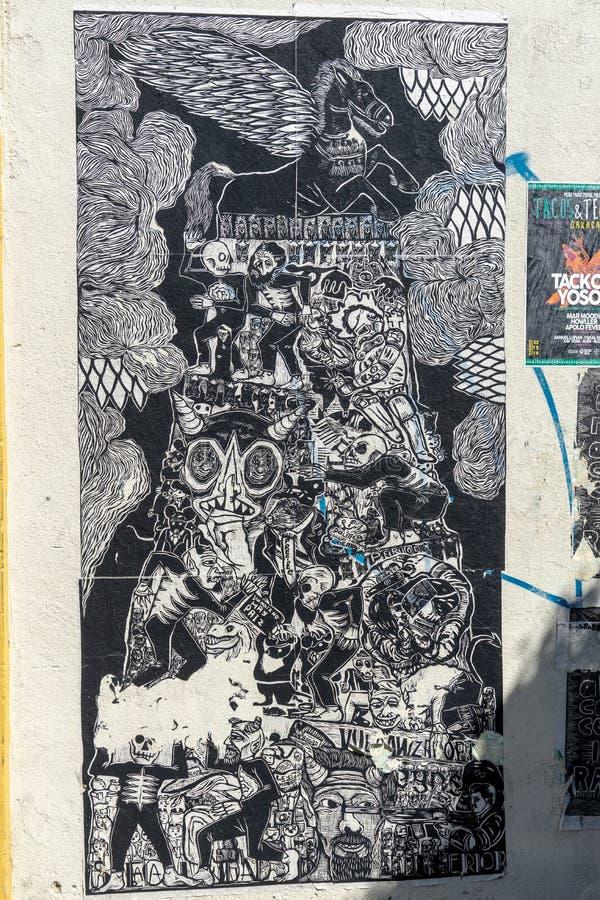 Parede de papel da arte em Oaxaca, México imagens de stock