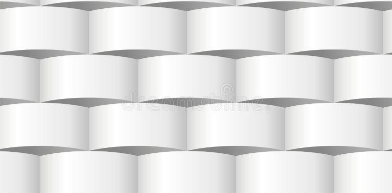 Parede de papel, emenda tridimensional abstrata de ondulação do teste padrão do tijolo ilustração stock