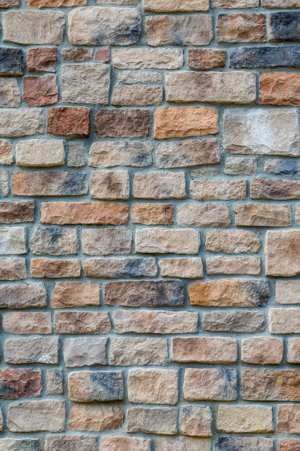 Parede de pedra colorida com Grey Mortar fotos de stock