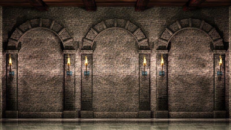 Parede de pedra com arcos ilustração do vetor