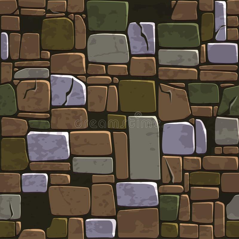 Parede de pedra da cor velha sem emenda da textura do fundo Ilustração do vetor para o elemento do jogo de Ui