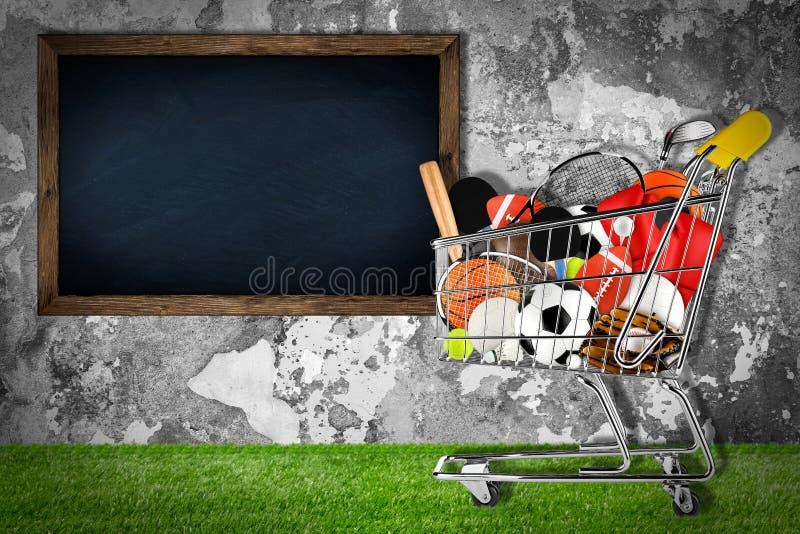 Parede de pedra do carrinho de compras do material desportivo imagem de stock
