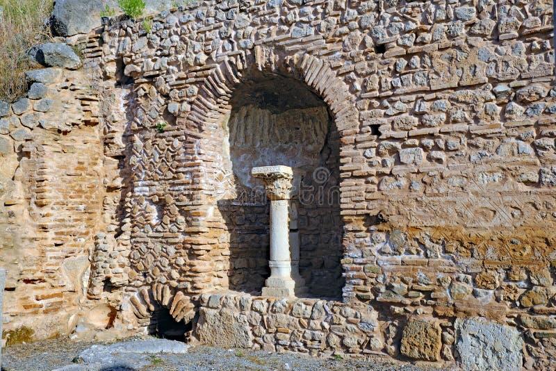 Parede de pedra do grego clássico, Delphi, Grécia fotografia de stock royalty free