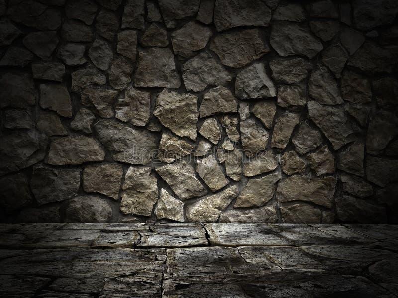 Parede de pedra e assoalho Efeito da luz imagens de stock royalty free