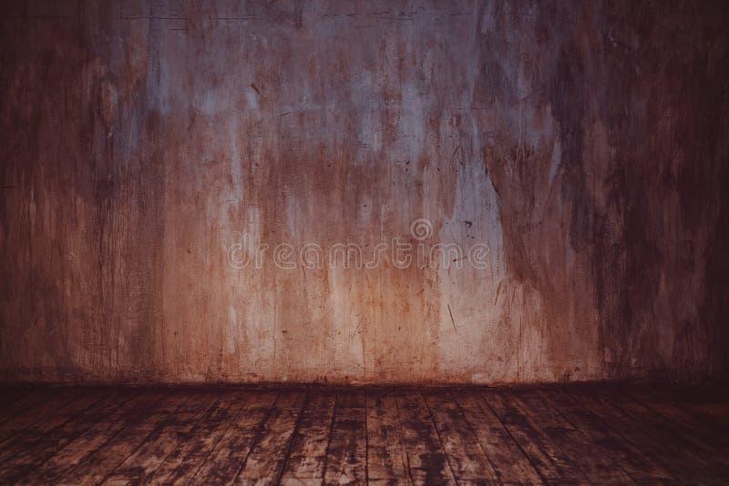 Parede de pedra e assoalho de madeira imagens de stock