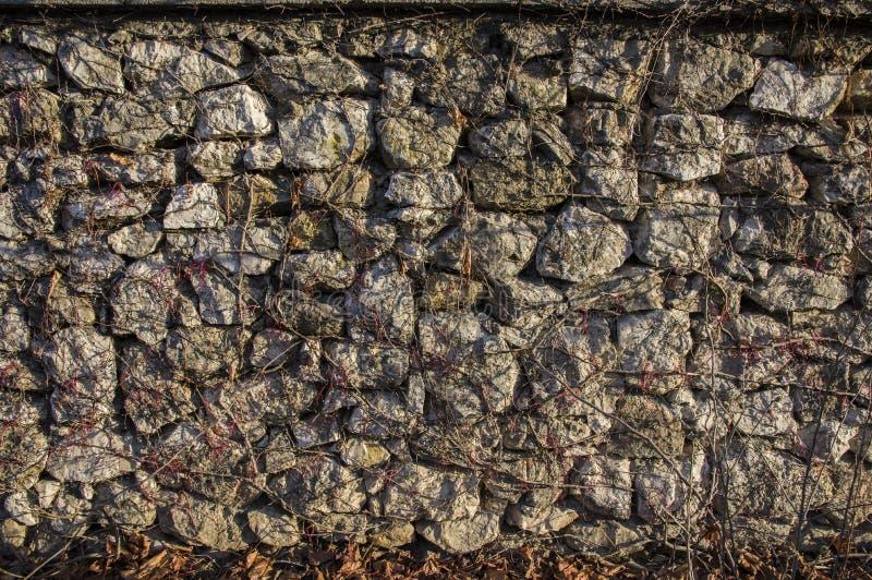 Parede de pedra em um dia ensolarado imagens de stock