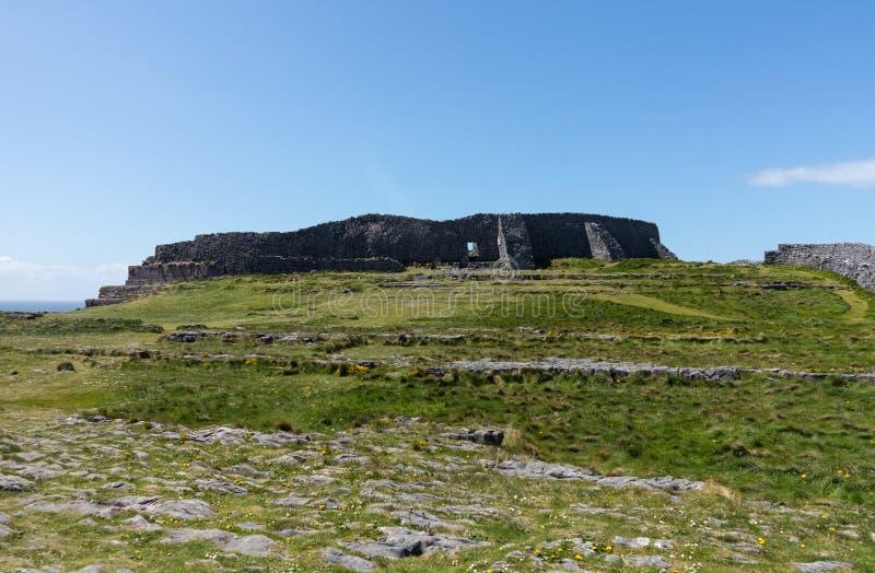 Parede de pedra no Dun Aonghasa Aran Islands imagem de stock royalty free