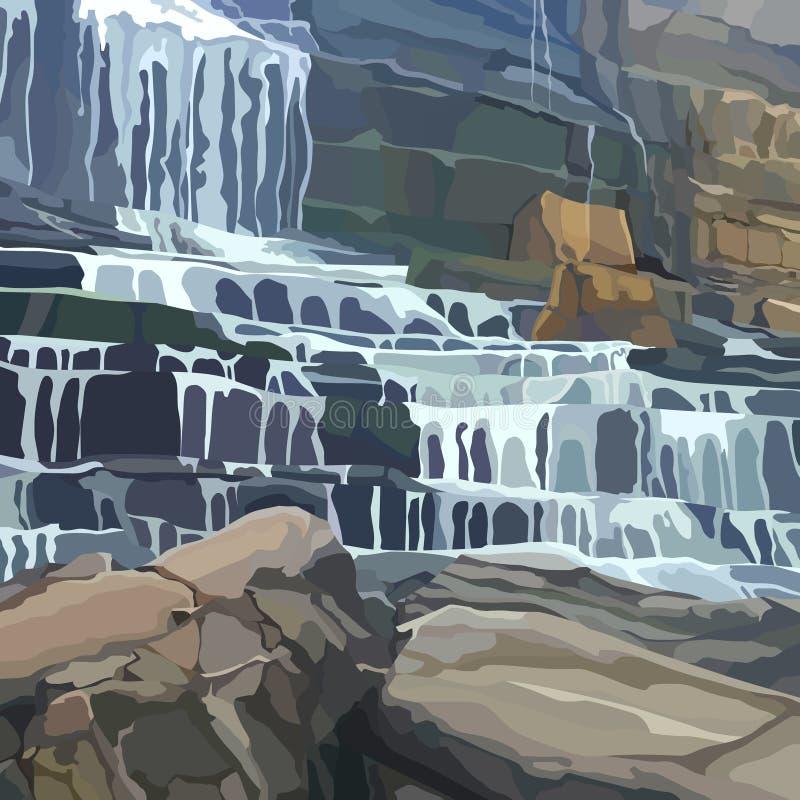 Parede de pedra pintada com uma cachoeira de vários estágios ilustração stock