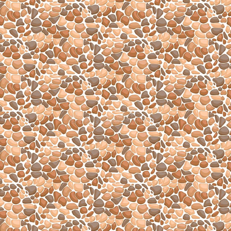Parede de pedra Vector a textura sem emenda das pedras em cores marrons ilustração do vetor