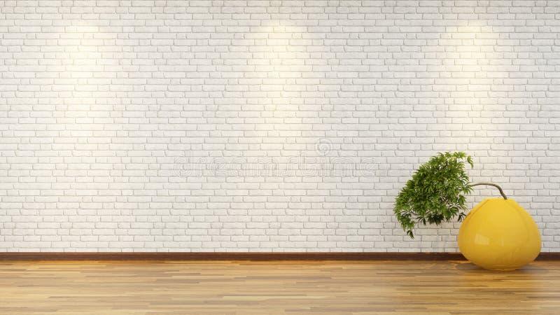 Parede de tijolo branca com os bonsais no vaso foto de stock