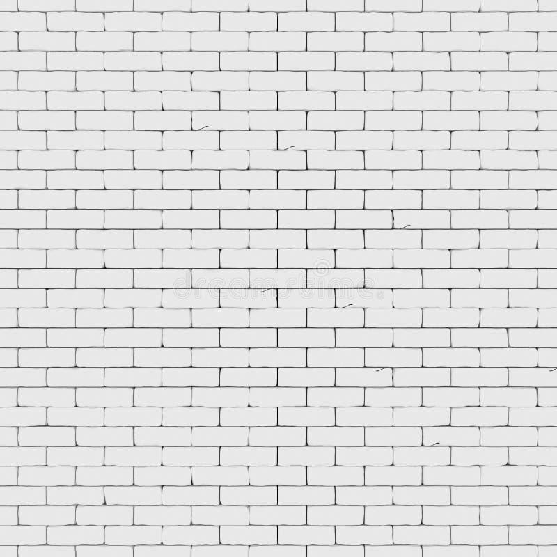 A parede de tijolo branca 3D rende ilustração stock