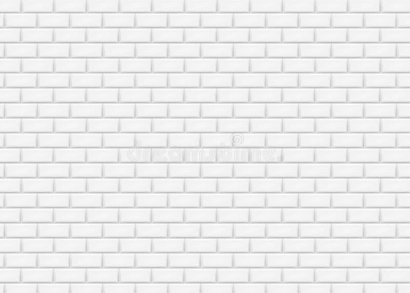 Parede de tijolo branca no teste padrão da telha do metro Ilustração do vetor ilustração stock
