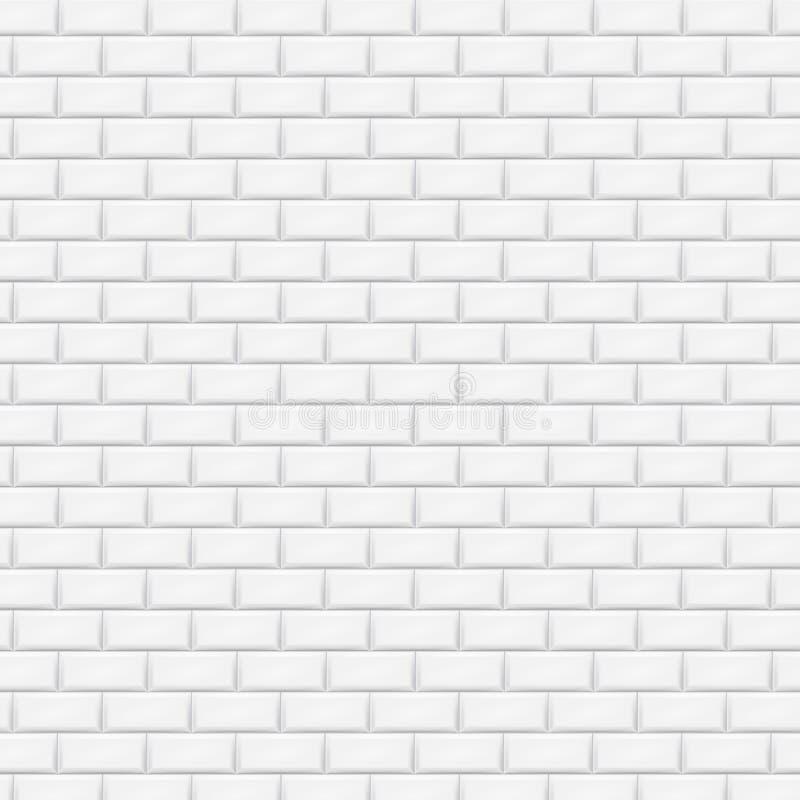 Parede de tijolo branca no teste padrão da telha do metro Ilustração do vetor ilustração do vetor