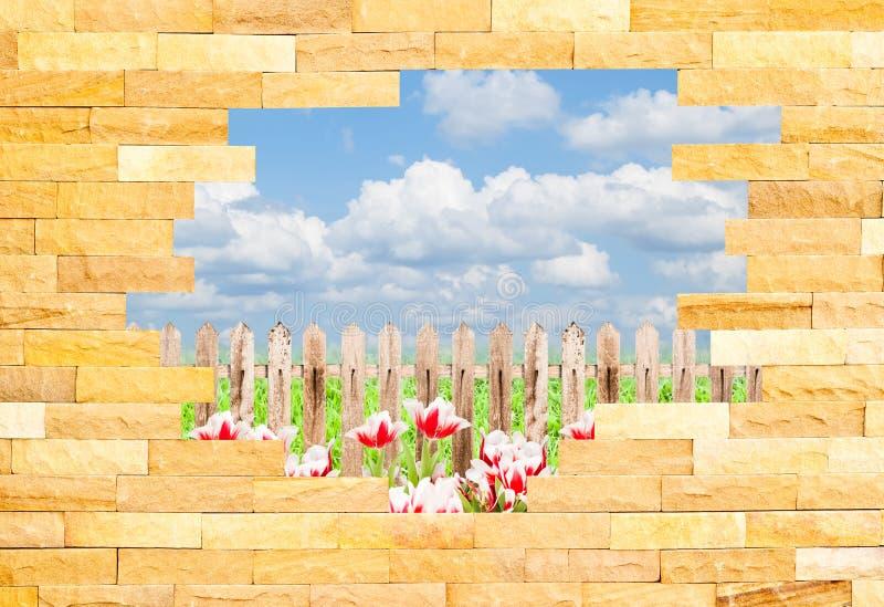 Parede de tijolo causada um crash com behi da paisagem ilustração royalty free