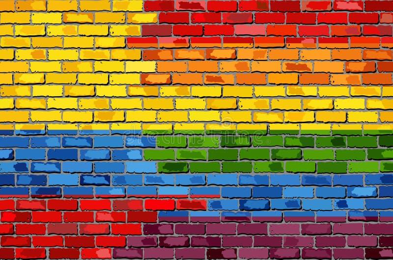 Parede de tijolo Colômbia e bandeiras alegres ilustração do vetor