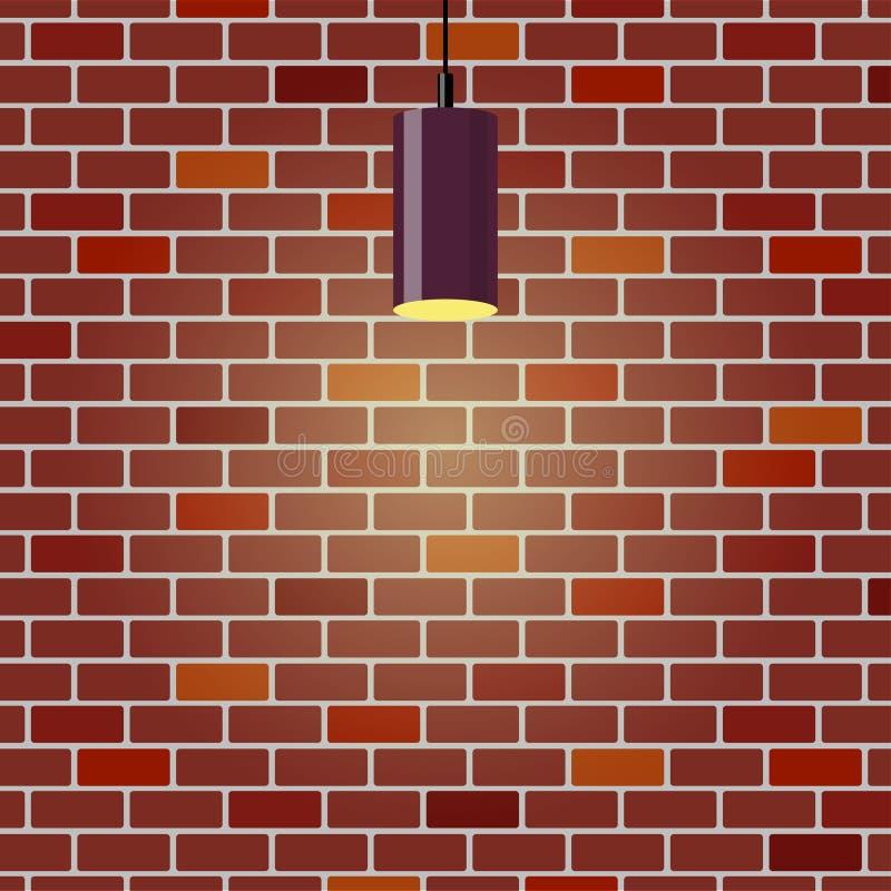Parede de tijolo colorida, iluminada pendurando a lâmpada Fundo da parede de tijolo Lâmpada violeta do teto Ilustração do vetor n ilustração royalty free