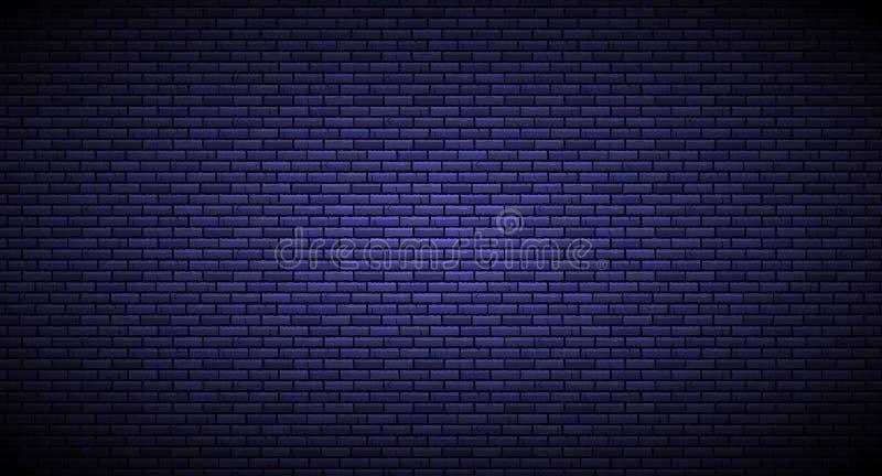 Parede de tijolo com o fundo isolado na obscuridade - azul da fonte luminosa Ilustração do vetor ilustração royalty free