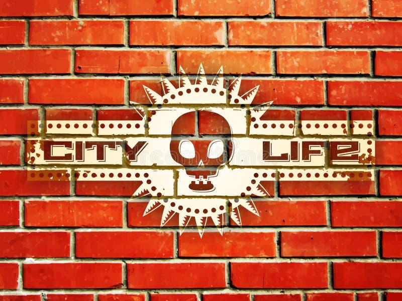 Parede de tijolo com sinal da vida urbana ilustração do vetor