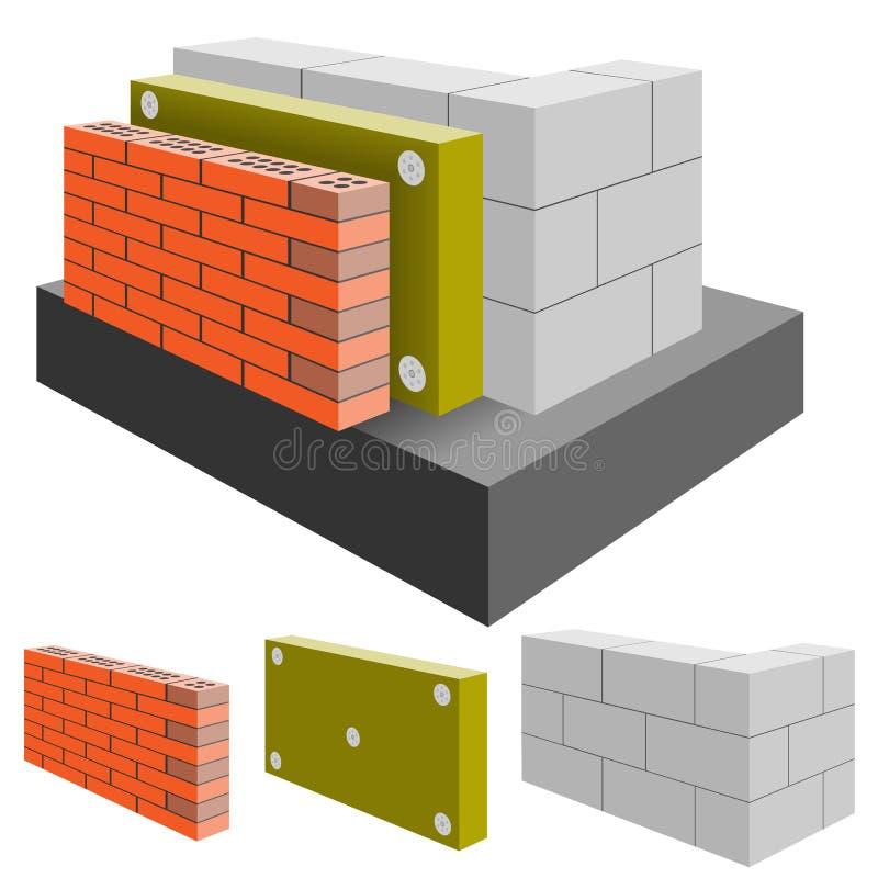 Parede de tijolo da casa com isolação, corte ilustração royalty free