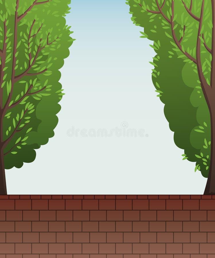 Parede de tijolo da cerca com árvores verdes e o céu azul ilustração royalty free