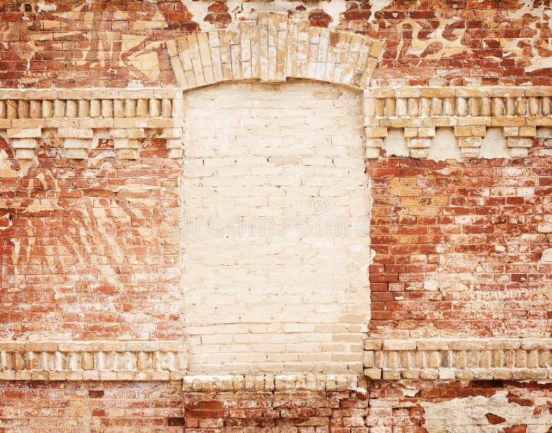 Parede de tijolo de Grunge com frame em branco fotos de stock royalty free