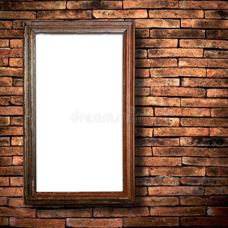 Parede de tijolo de madeira do frame imagens de stock
