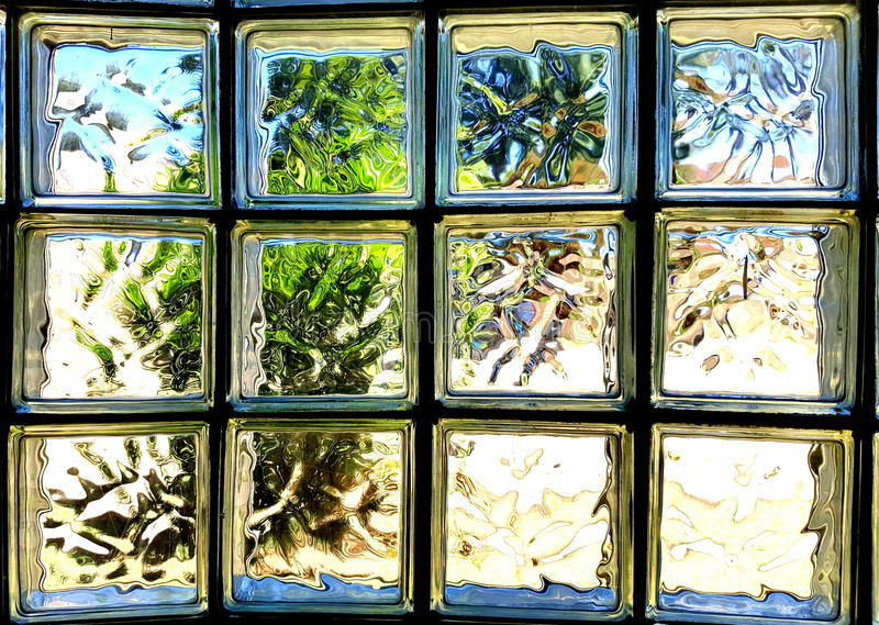 Parede de tijolo de vidro fotografia de stock royalty free