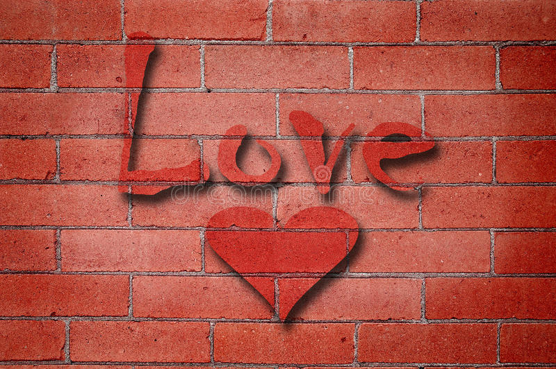Parede de tijolo do amor fotografia de stock