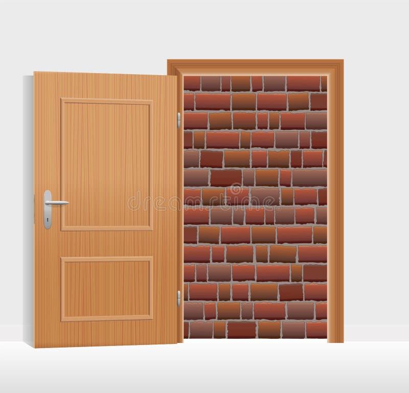 A parede de tijolo do estar aberto obstruiu murado acima ilustração royalty free