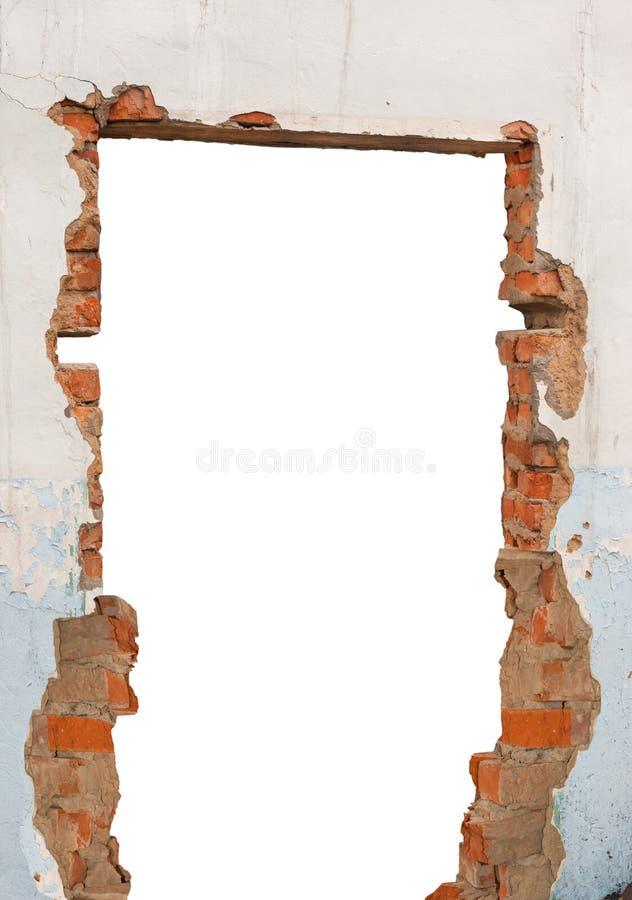 Parede de tijolo do furo fotos de stock